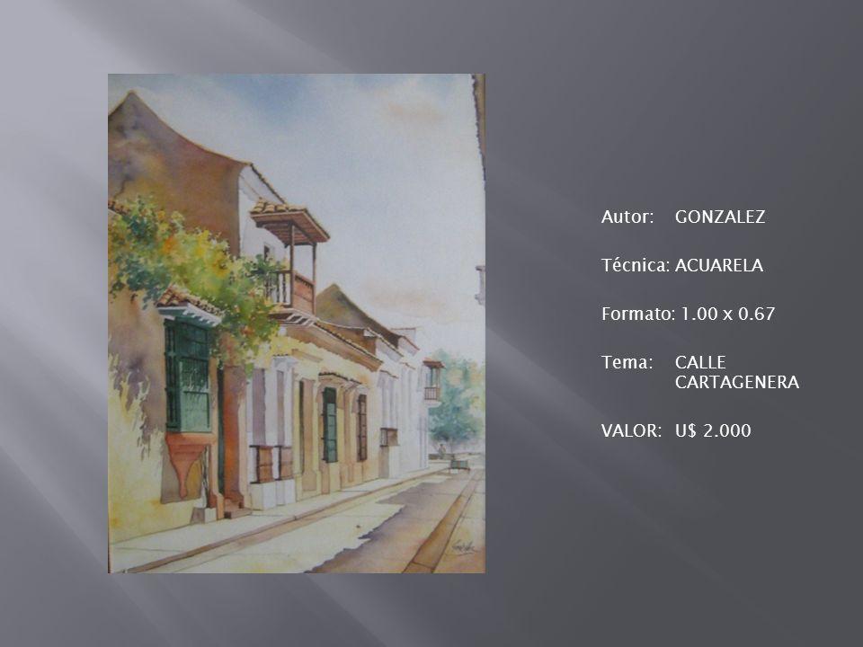 Autor: GONZALEZ Técnica: ACUARELA Formato: 1. 00 x 0