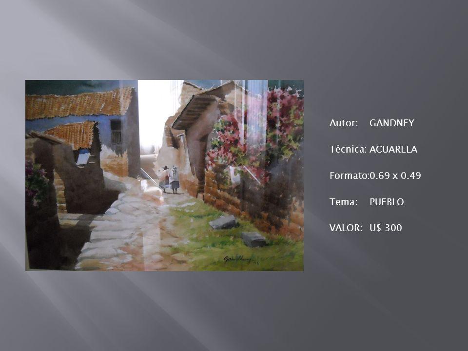 Autor: GANDNEY Técnica: ACUARELA Formato: 0. 69 x 0
