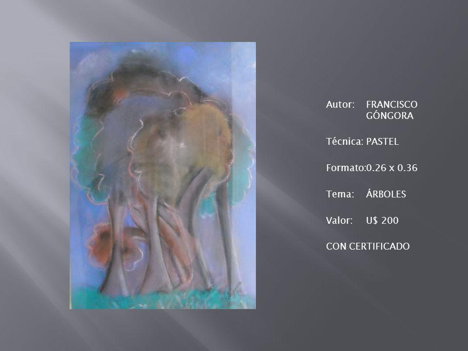 Autor: FRANCISCO GÓNGORA Técnica: PASTEL Formato: 0. 26 x 0