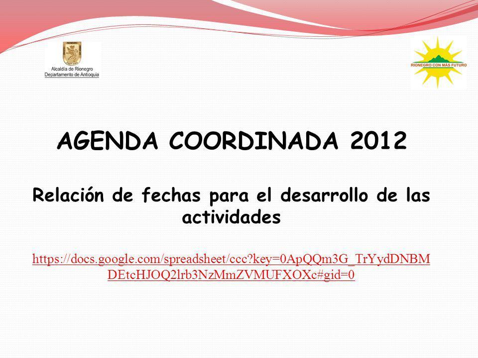 Relación de fechas para el desarrollo de las actividades