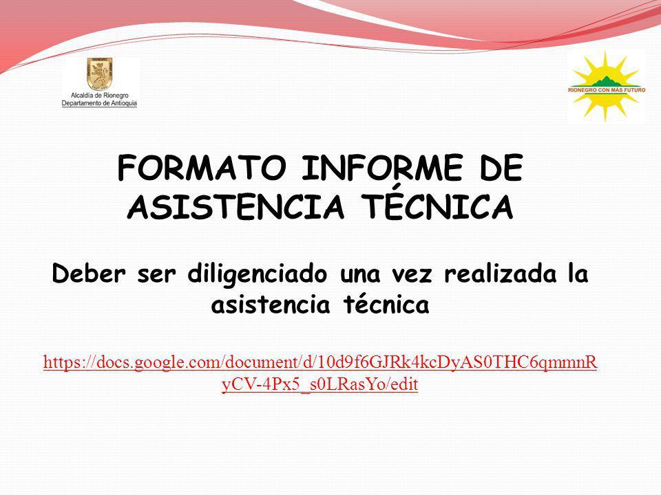 FORMATO INFORME DE ASISTENCIA TÉCNICA