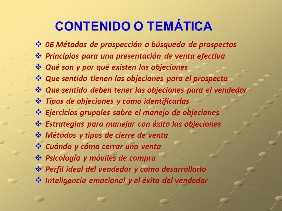CONTENIDO O TEMÁTICA 06 Métodos de prospección o búsqueda de prospectos. Principios para una presentación de venta efectiva.