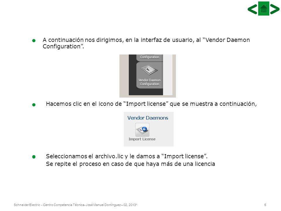 A continuación nos dirigimos, en la interfaz de usuario, al Vendor Daemon Configuration .