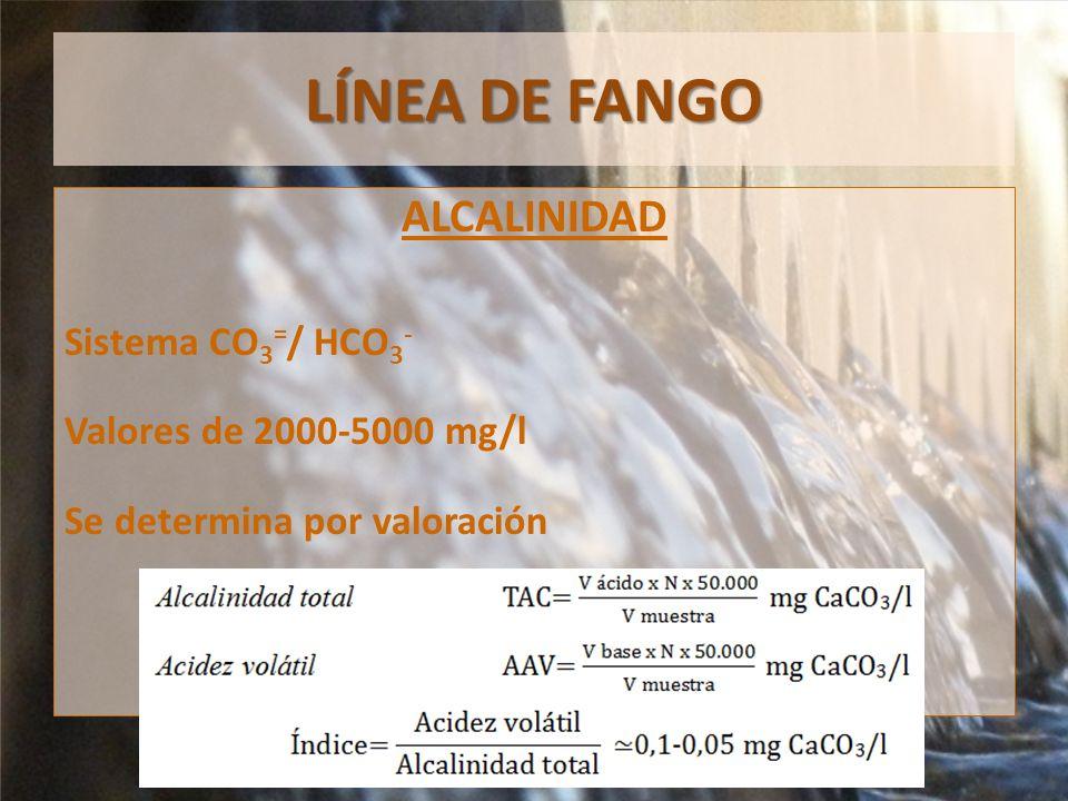 LÍNEA DE FANGO ALCALINIDAD Sistema CO3=/ HCO3-