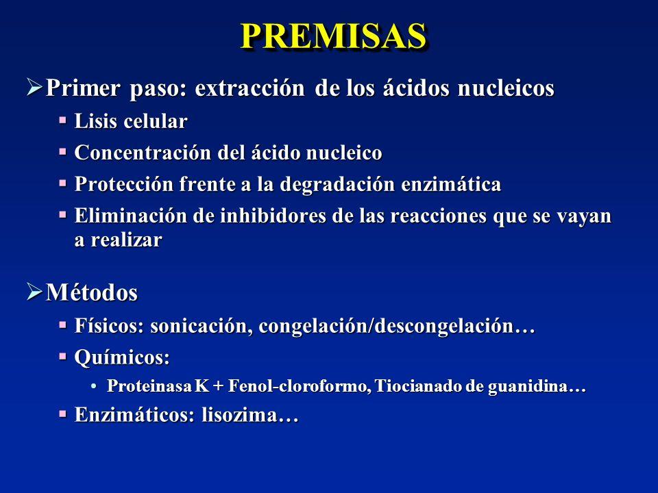 PREMISAS Primer paso: extracción de los ácidos nucleicos Métodos