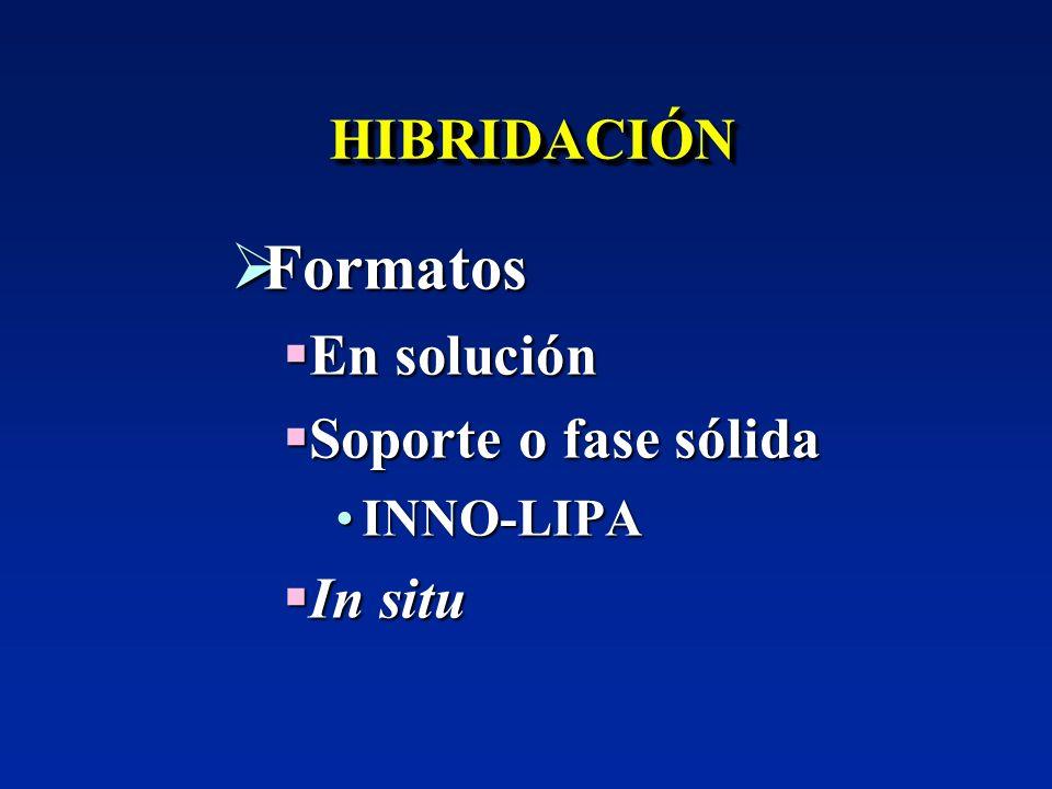 Formatos HIBRIDACIÓN En solución Soporte o fase sólida In situ