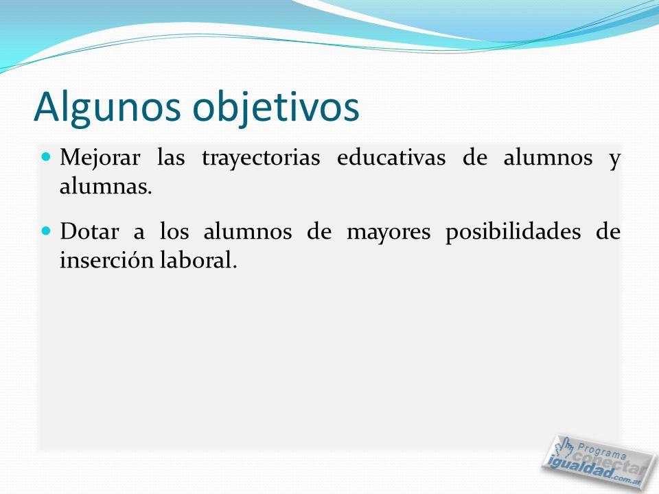 Algunos objetivos Mejorar las trayectorias educativas de alumnos y alumnas.