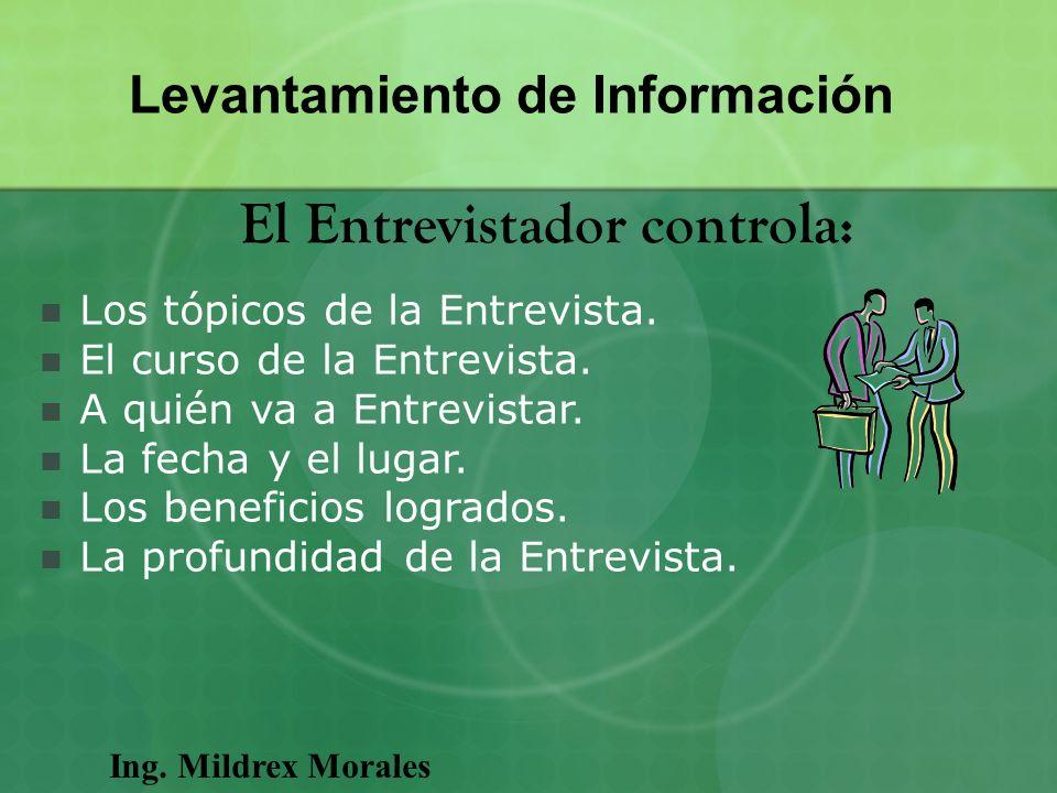 Levantamiento de Información El Entrevistador controla: