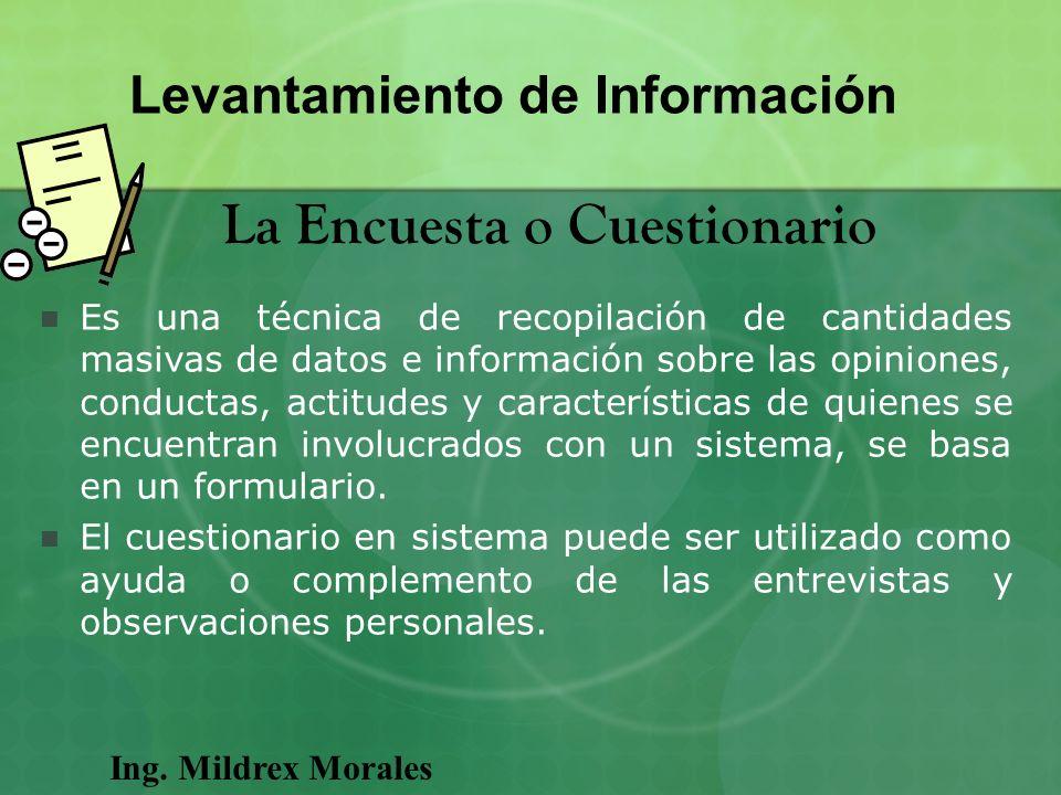 Levantamiento de Información La Encuesta o Cuestionario