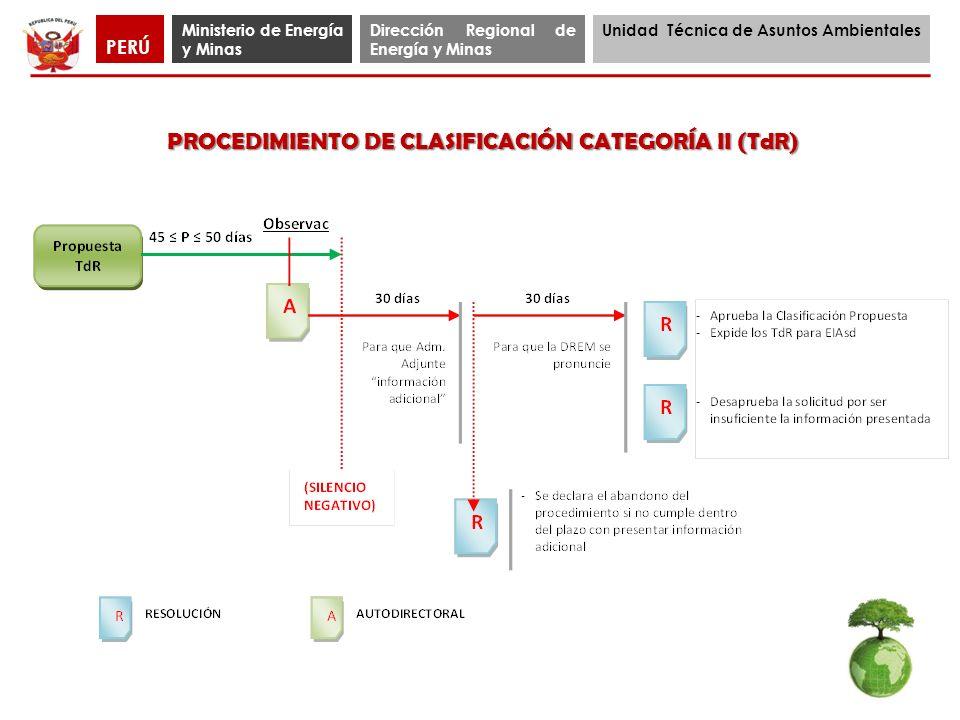 PROCEDIMIENTO DE CLASIFICACIÓN CATEGORÍA II (TdR)