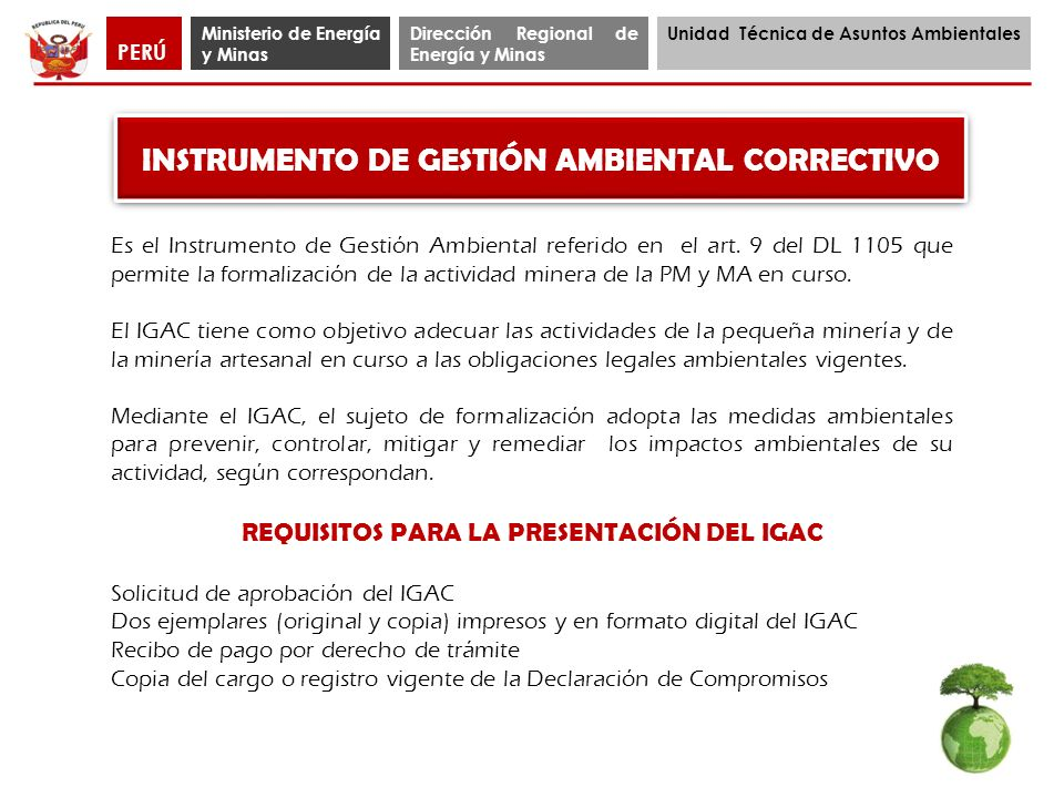 INSTRUMENTO DE GESTIÓN AMBIENTAL CORRECTIVO