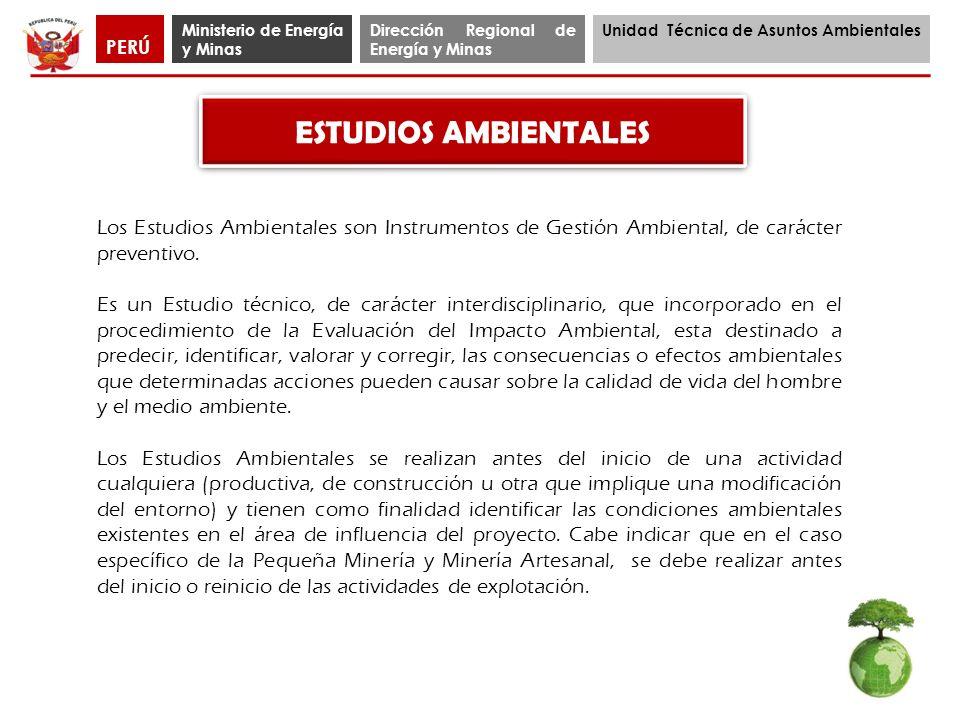 PERÚ Ministerio de Energía y Minas. Dirección Regional de Energía y Minas. Unidad Técnica de Asuntos Ambientales.