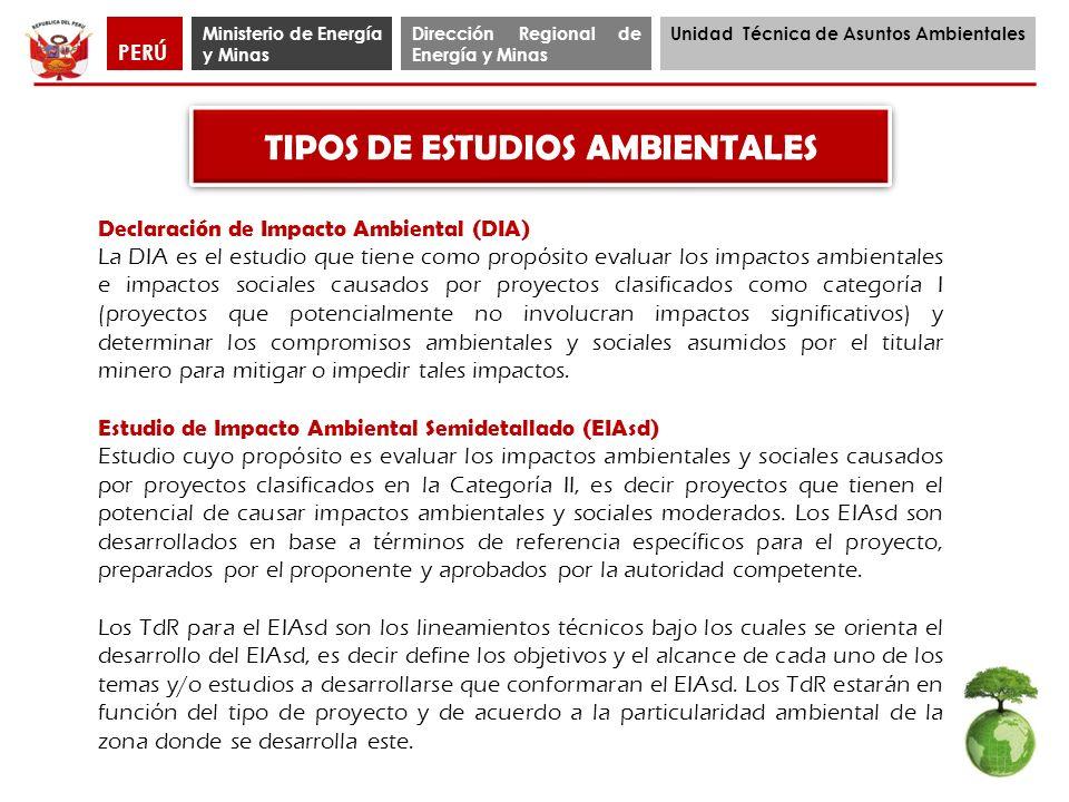 TIPOS DE ESTUDIOS AMBIENTALES