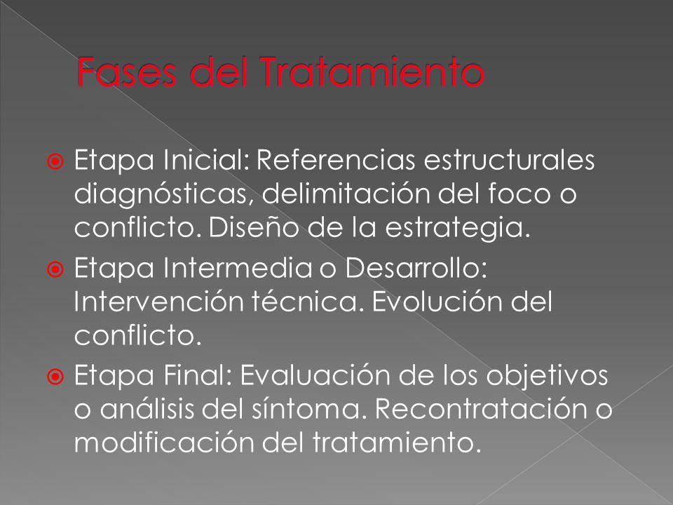 Fases del Tratamiento Etapa Inicial: Referencias estructurales diagnósticas, delimitación del foco o conflicto. Diseño de la estrategia.