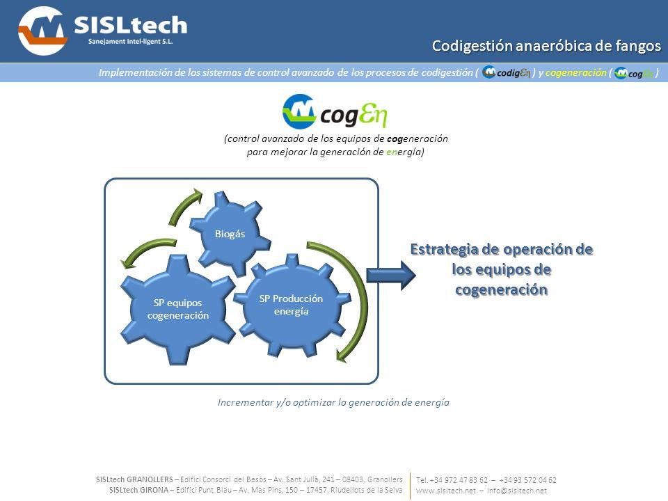 Estrategia de operación de los equipos de cogeneración