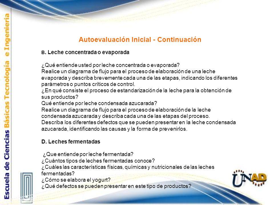 Autoevaluación Inicial - Continuación