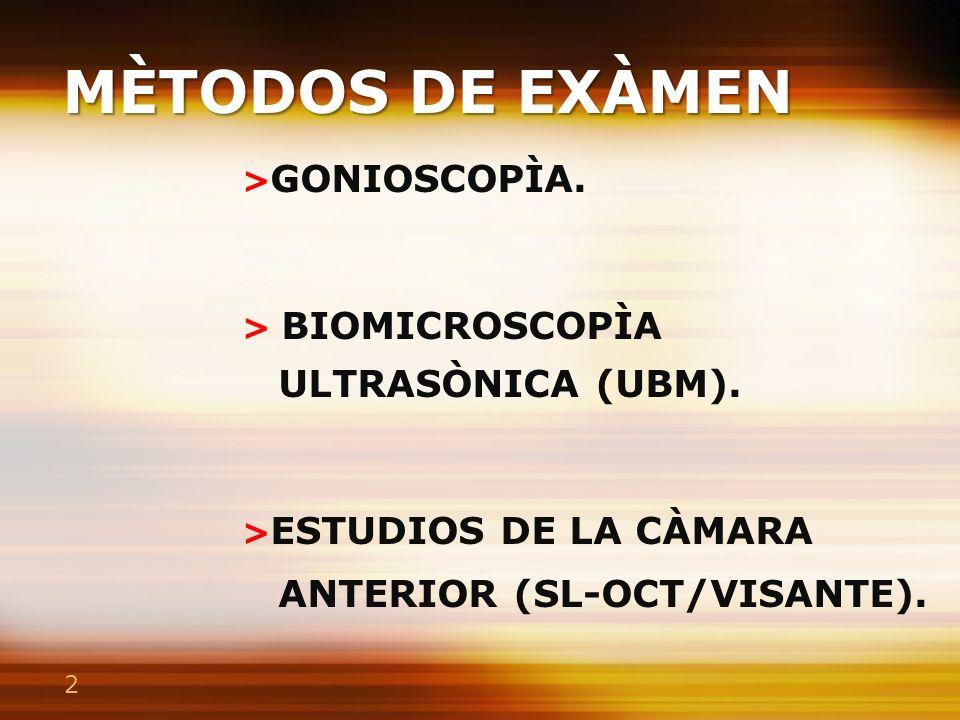 GONIOSCOPÌA >Es el estudio del ángulo iridocorneal.