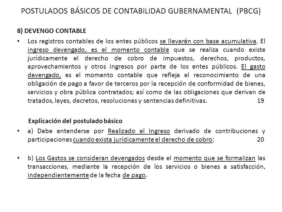 POSTULADOS BÁSICOS DE CONTABILIDAD GUBERNAMENTAL (PBCG)