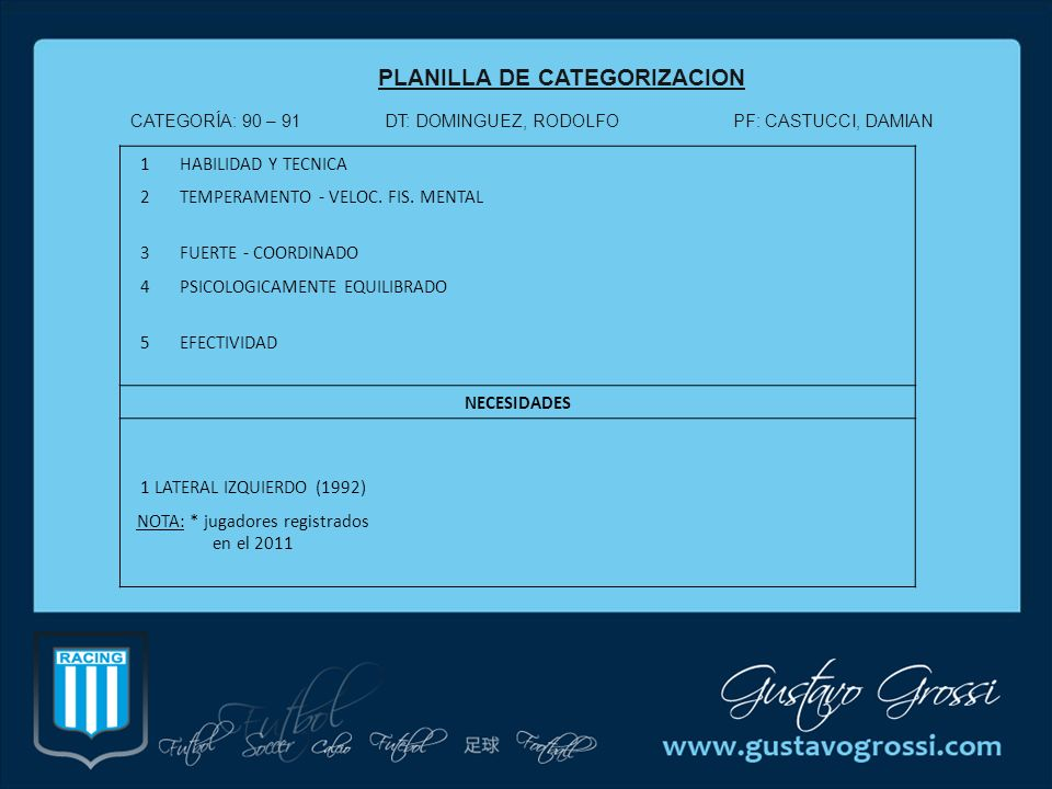 PLANILLA DE CATEGORIZACION