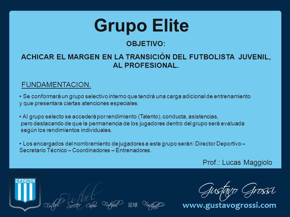 Grupo Elite OBJETIVO: ACHICAR EL MARGEN EN LA TRANSICIÓN DEL FUTBOLISTA JUVENIL, AL PROFESIONAL. FUNDAMENTACION.