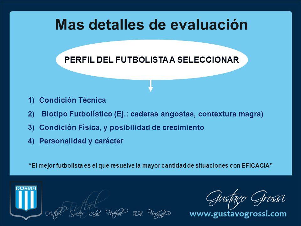 Mas detalles de evaluación PERFIL DEL FUTBOLISTA A SELECCIONAR