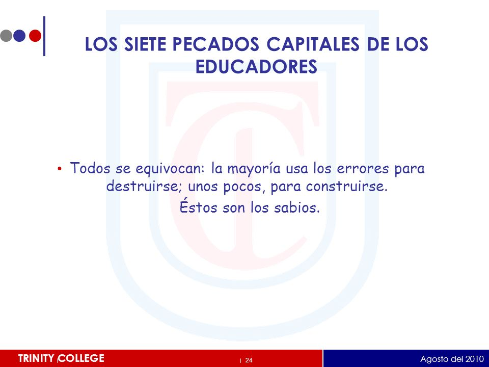 LOS SIETE PECADOS CAPITALES DE LOS EDUCADORES
