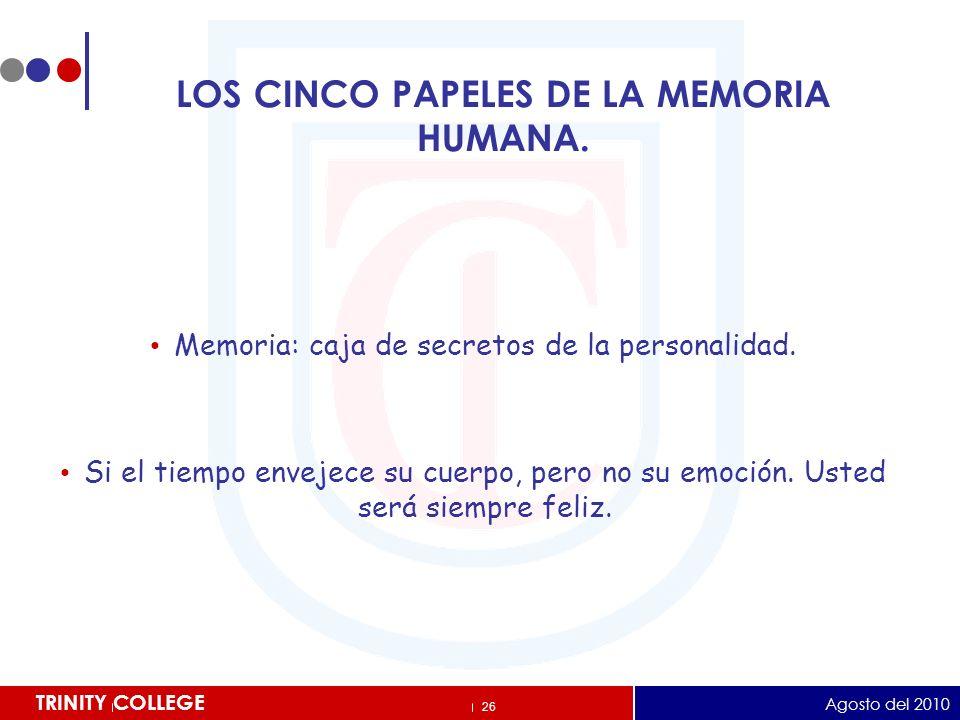 LOS CINCO PAPELES DE LA MEMORIA HUMANA.