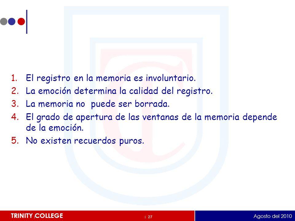 El registro en la memoria es involuntario.