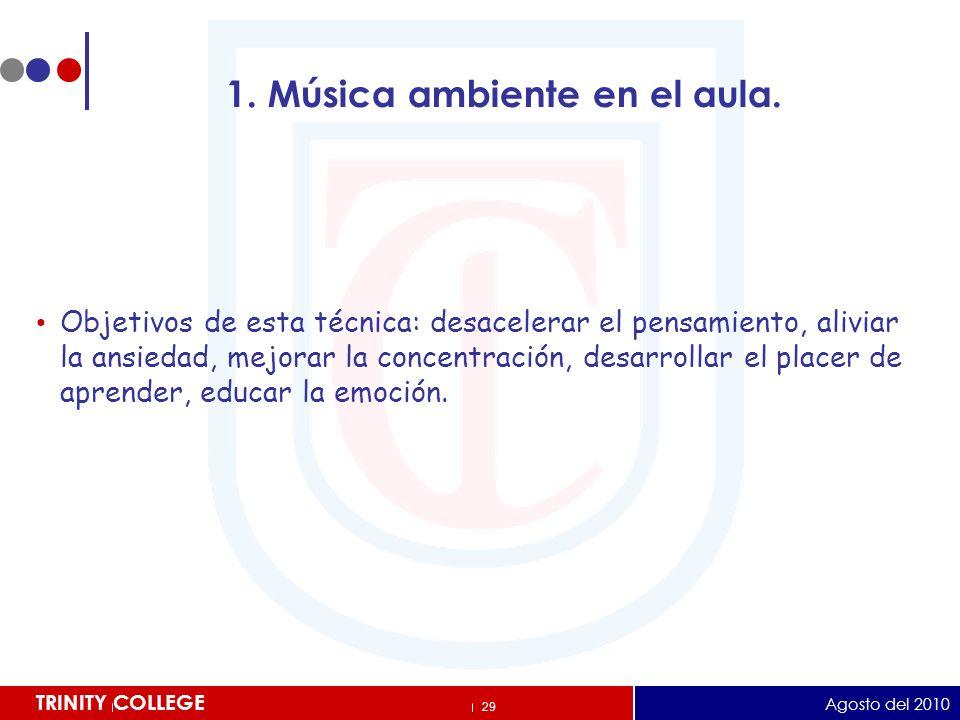 1. Música ambiente en el aula.