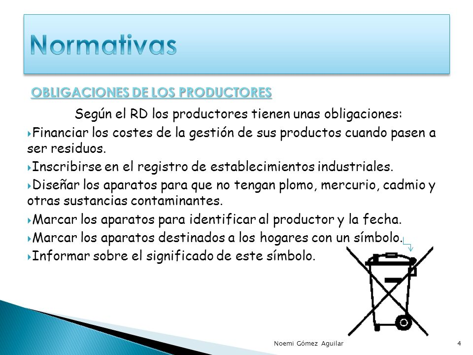 Normativas OBLIGACIONES DE LOS PRODUCTORES