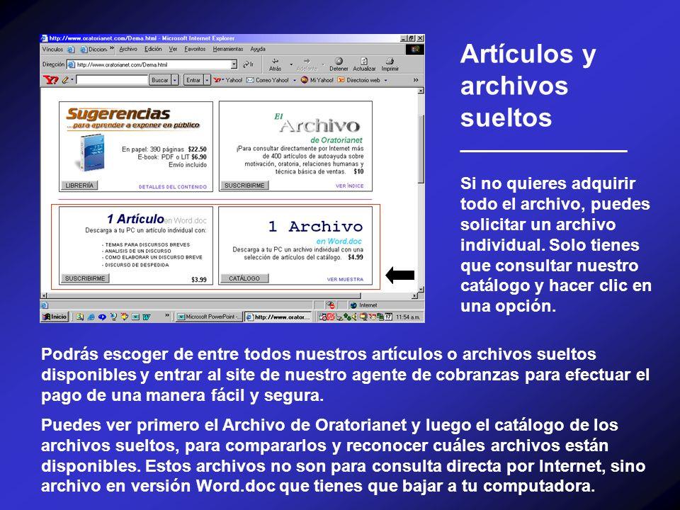 Artículos y archivos sueltos