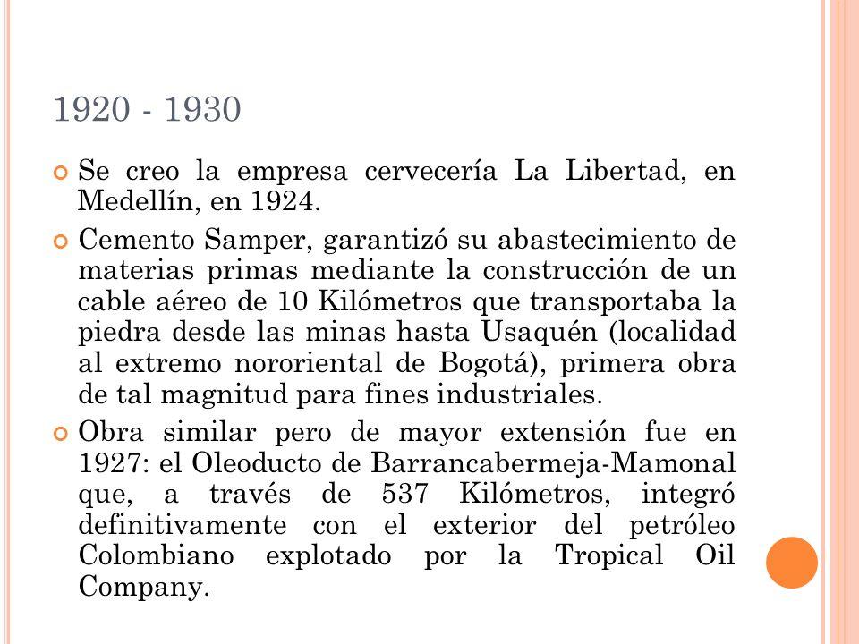 1920 - 1930 Se creo la empresa cervecería La Libertad, en Medellín, en 1924.