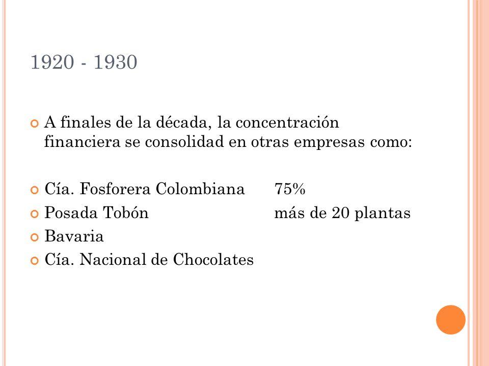 1920 - 1930 A finales de la década, la concentración financiera se consolidad en otras empresas como: