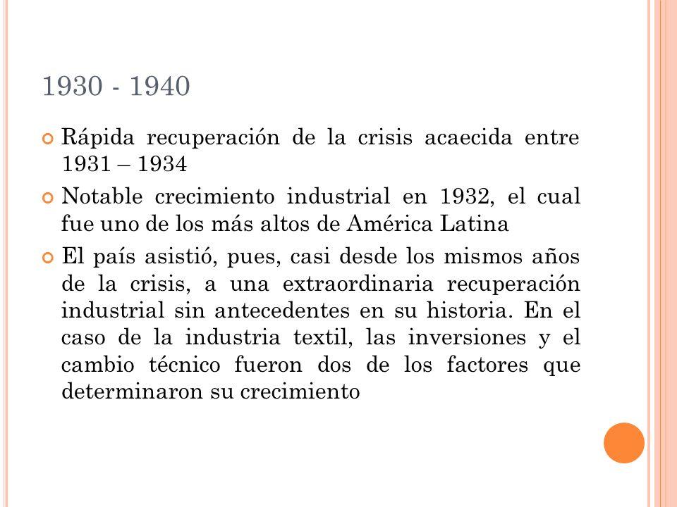 1930 - 1940 Rápida recuperación de la crisis acaecida entre 1931 – 1934.
