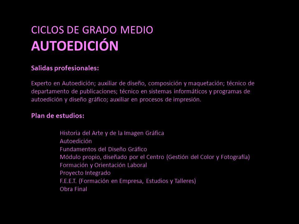AUTOEDICIÓN CICLOS DE GRADO MEDIO Salidas profesionales: