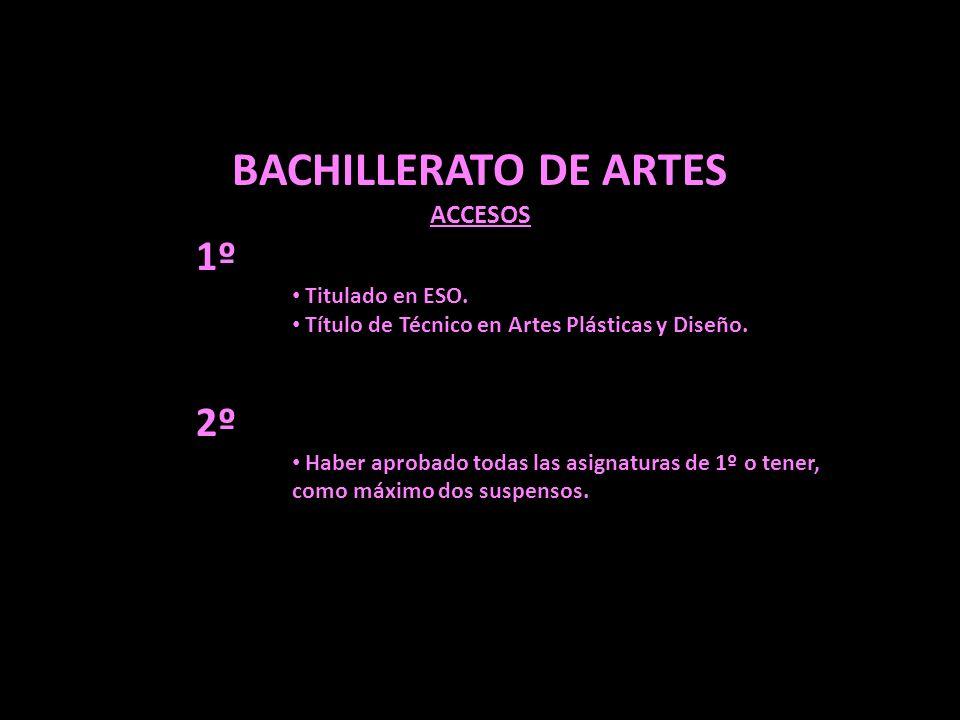 BACHILLERATO DE ARTES 1º 2º ACCESOS Titulado en ESO.