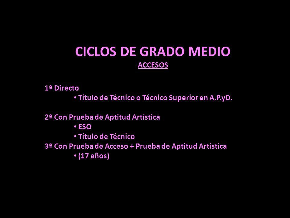 CICLOS DE GRADO MEDIO ACCESOS 1º Directo
