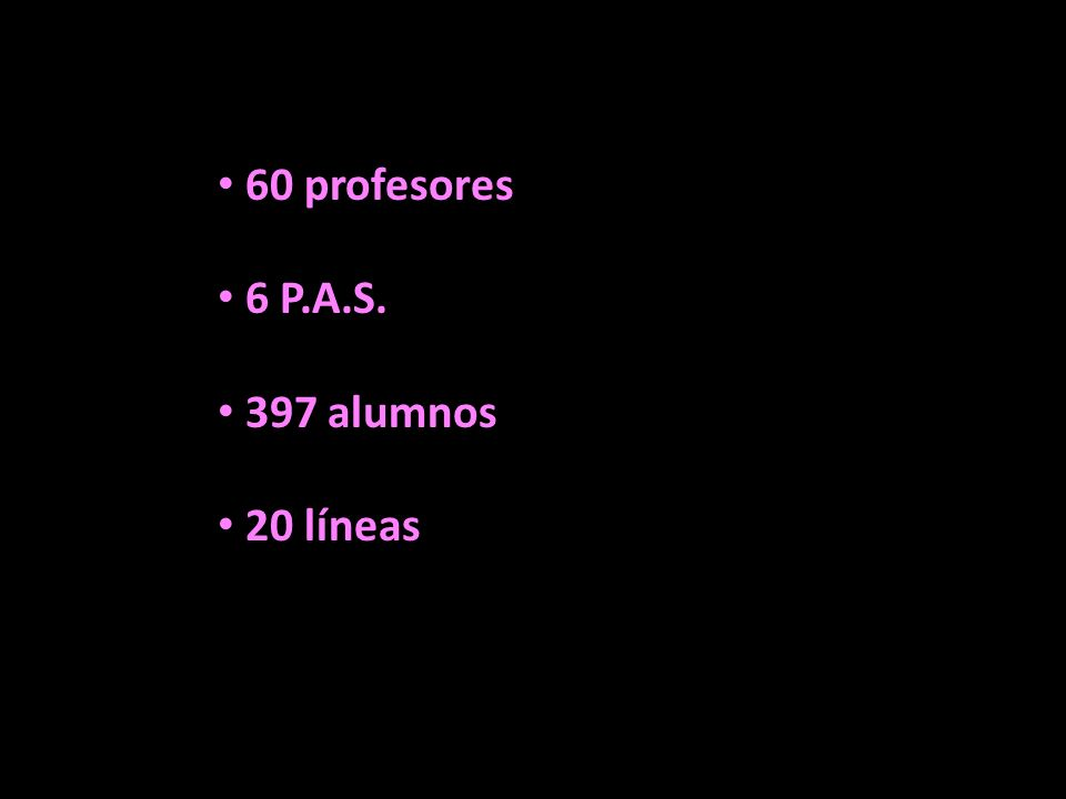60 profesores 6 P.A.S. 397 alumnos 20 líneas