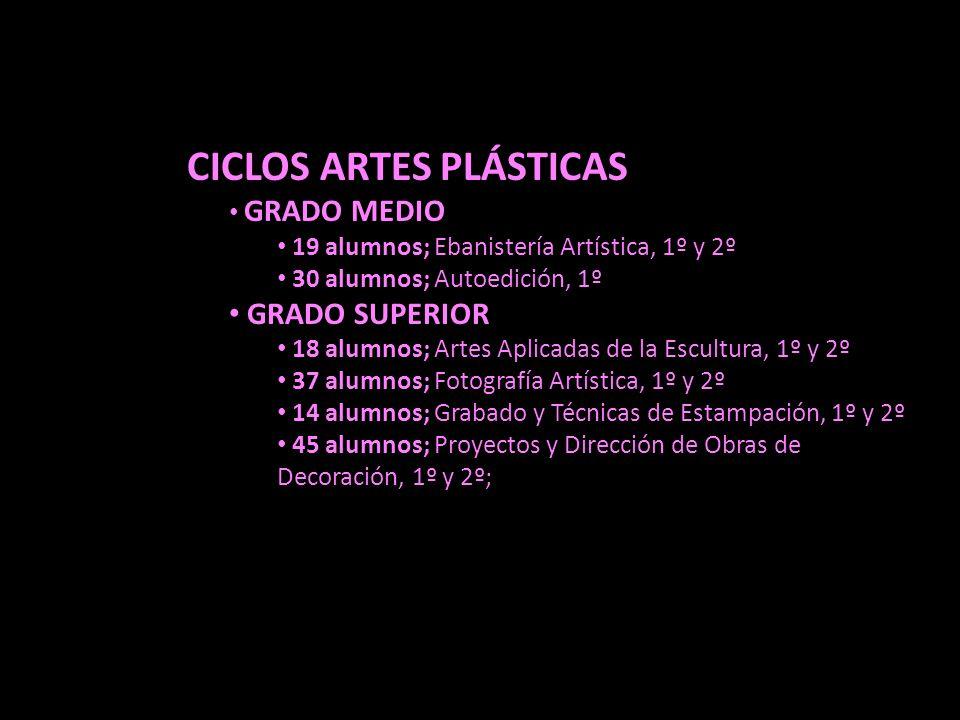 GRADO SUPERIOR CICLOS ARTES PLÁSTICAS GRADO MEDIO