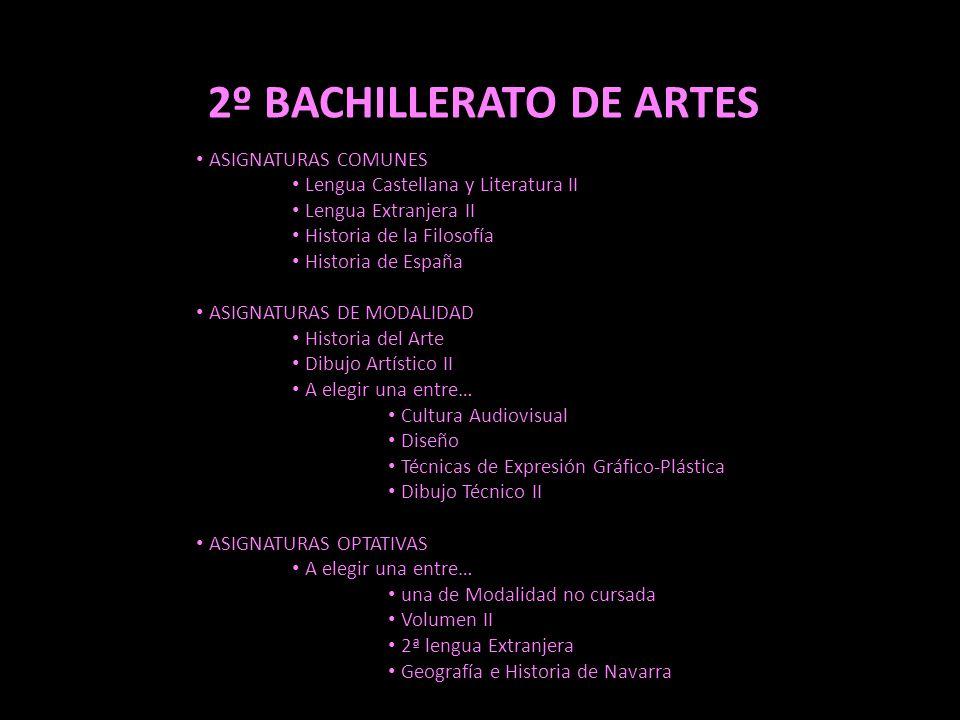 2º BACHILLERATO DE ARTES
