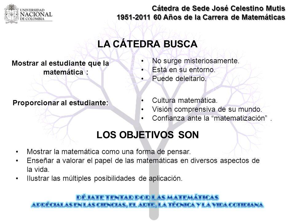 LA CÁTEDRA BUSCA LOS OBJETIVOS SON