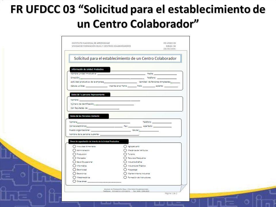 FR UFDCC 03 Solicitud para el establecimiento de un Centro Colaborador
