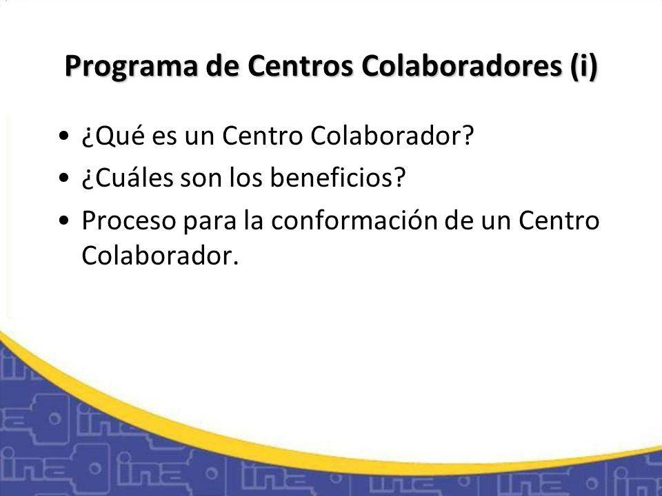 Programa de Centros Colaboradores (i)