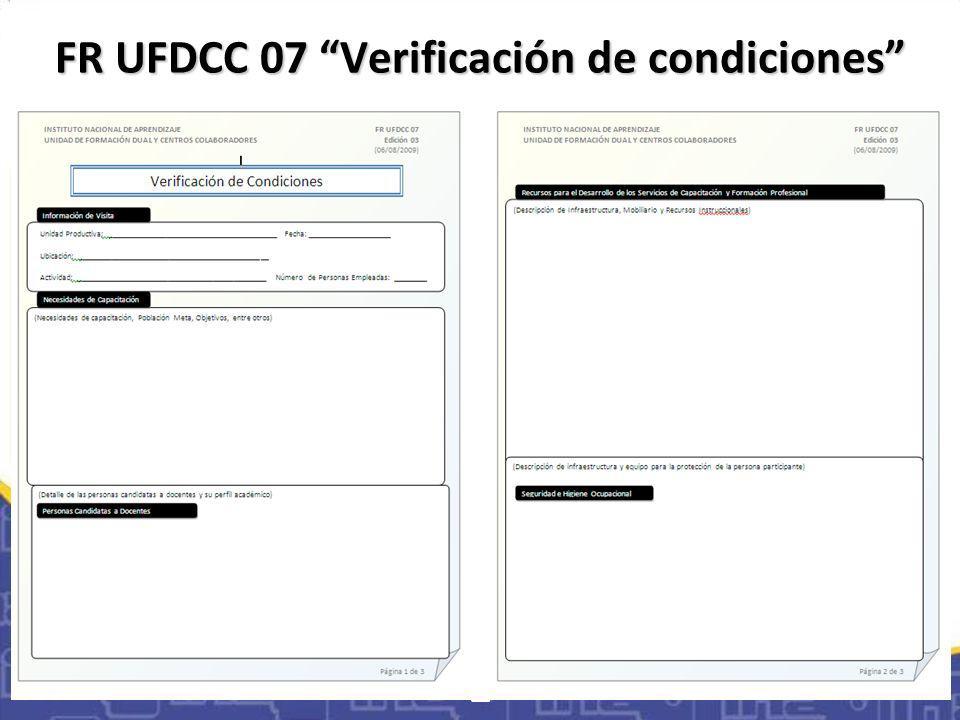 FR UFDCC 07 Verificación de condiciones