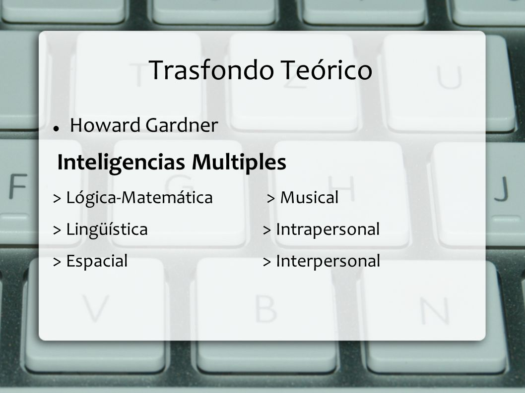 Trasfondo Teórico Howard Gardner Inteligencias Multiples