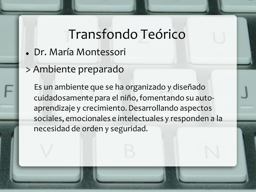 Transfondo Teórico Dr. María Montessori > Ambiente preparado