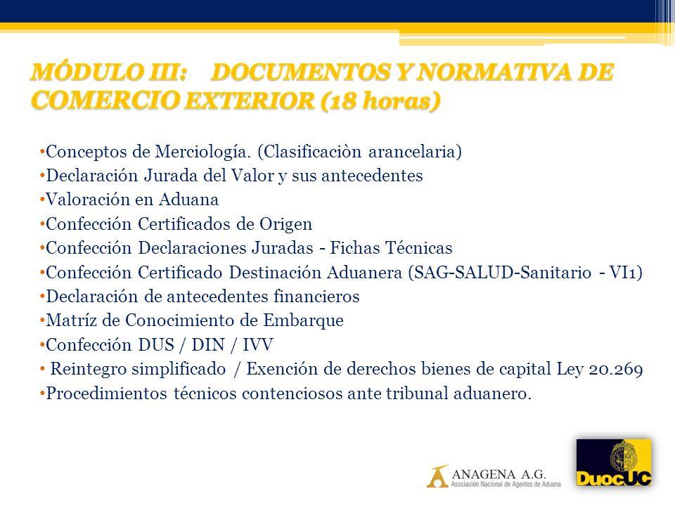 MÓDULO III: DOCUMENTOS Y NORMATIVA DE COMERCIO EXTERIOR (18 horas)