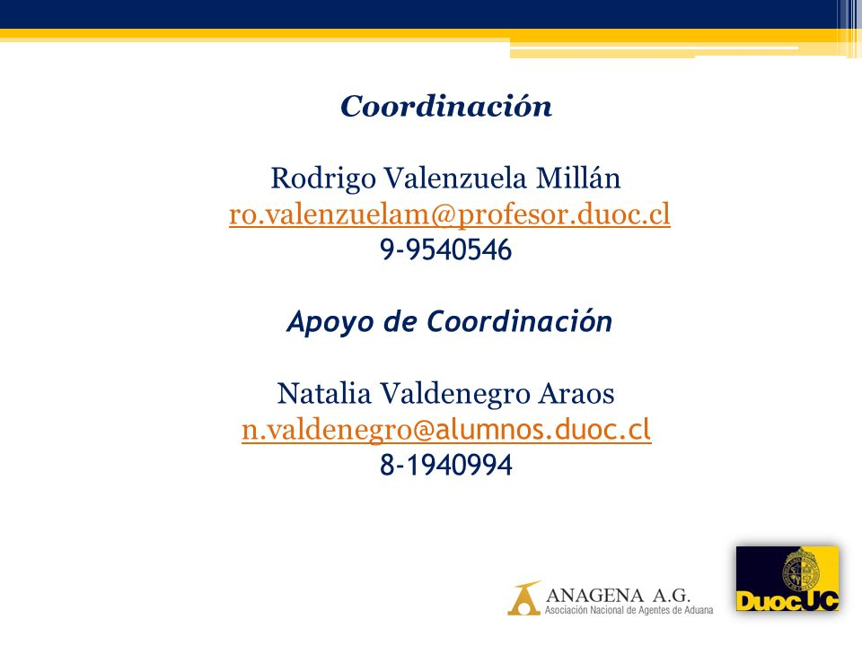 Coordinación Rodrigo Valenzuela Millán ro. valenzuelam@profesor. duoc