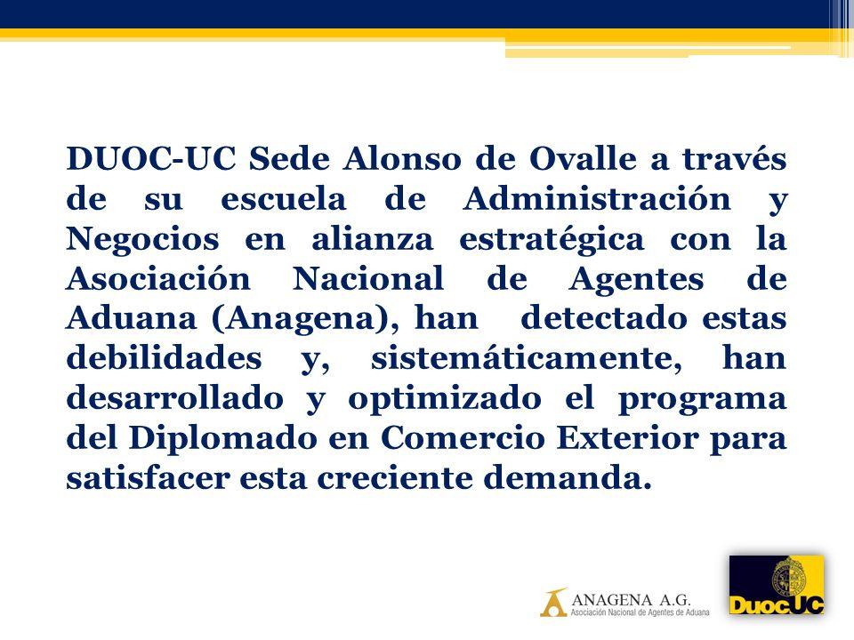 DUOC-UC Sede Alonso de Ovalle a través de su escuela de Administración y Negocios en alianza estratégica con la Asociación Nacional de Agentes de Aduana (Anagena), han detectado estas debilidades y, sistemáticamente, han desarrollado y optimizado el programa del Diplomado en Comercio Exterior para satisfacer esta creciente demanda.