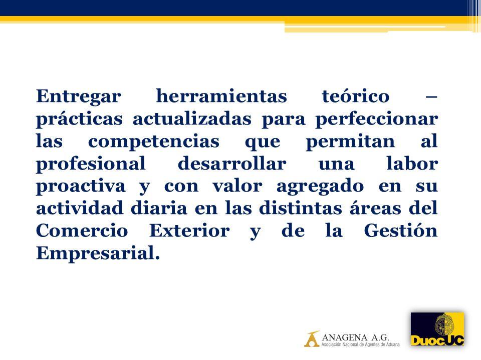 Entregar herramientas teórico – prácticas actualizadas para perfeccionar las competencias que permitan al profesional desarrollar una labor proactiva y con valor agregado en su actividad diaria en las distintas áreas del Comercio Exterior y de la Gestión Empresarial.